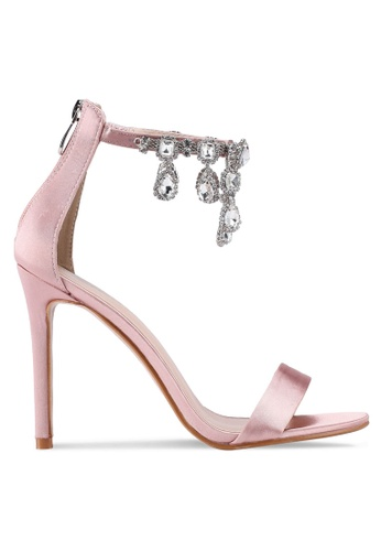 Public Desire pink Chai Ankle Gem Detail Barely There Heels 4DD95SHD63650BGS_1