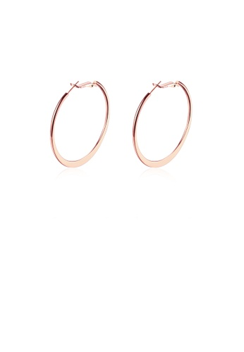 Glamorousky silver Simple Plated Rose Gold Round Earrings 9669DAC53ED355GS_1