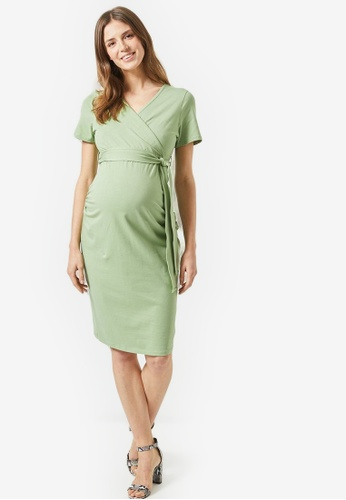 f48f259b03680 Dorothy Perkins green Maternity Green Sage Ruched Wrap Nursing Dress  60B71AADE042CAGS_1