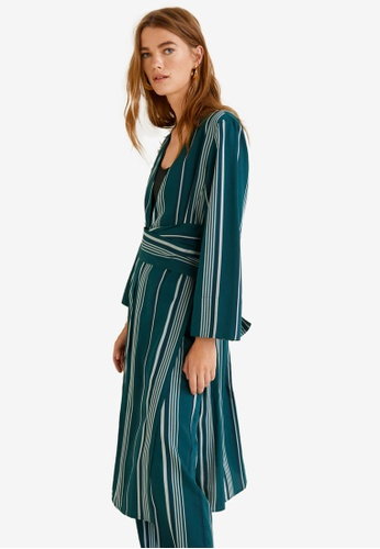 MANGO green Striped Soft Kaftan 154E6AA8AA4CC8GS_1
