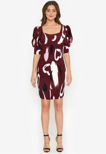 F.101 red Puff Sleeve Printed Dress 947EEAA109330AGS_1