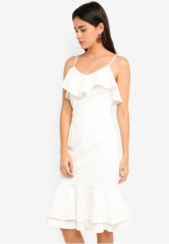 MDSCollections white Auriel Ruffled Dress 11FF3AA56154E8GS_1