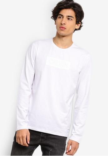 Calvin Klein 白色 長袖Institutional LOGO修身T恤 - Calvin Klein 牛仔褲 115F0AA231EF85GS_1
