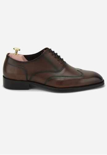 Earnest & Collective brown Kent II Burnished Brown Wingtip Oxford D29ACSH5073D43GS_1