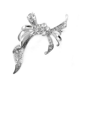 Glamorousky silver Elegant Ribbon Brooch with Silver Austrian Element Crystal F95BFACADAEC63GS_1