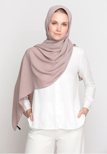 VELRIA brown DOLLY Chiffon Shawl in Warm Taupe 5ABAEAA7C9A38FGS_1