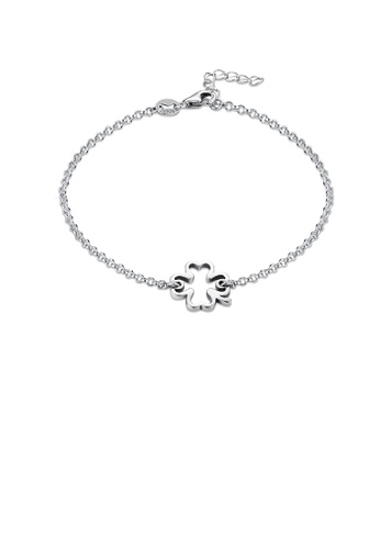 Glamorousky silver 925 Sterling Silver Fashion Simple Hollow Four-leafed Clover Bracelet ACB9FAC71AA67CGS_1
