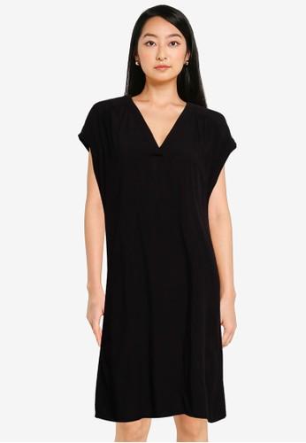 Gap black V-Neck Dress BD04BAA1BEF288GS_1