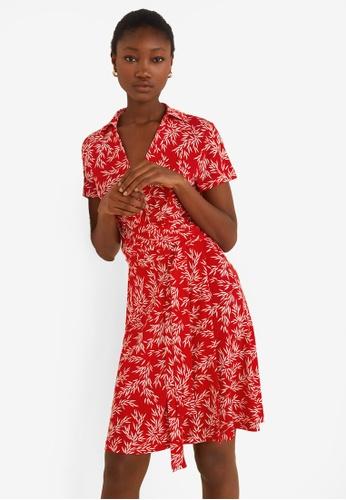 Mango red Bow Wrap Dress F6AA7AA464D449GS_1