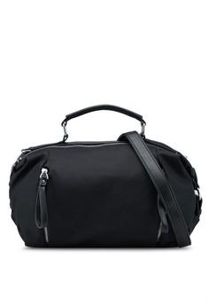 PU-Trimmed Nylon Convertible Boston Bag