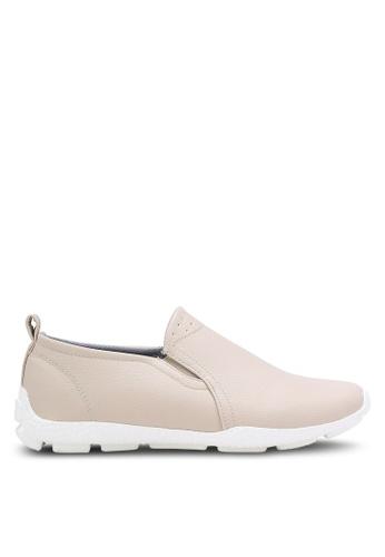 ZALORA beige Faux Leather Sporty Slip Ons E6621SH99BF044GS_1