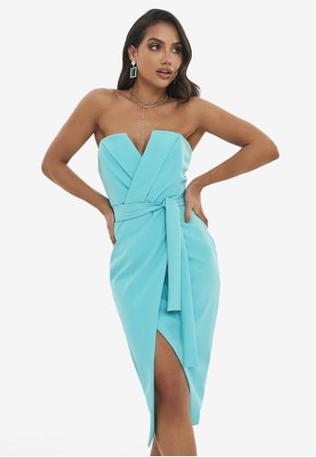 Lavish Alice blue Straight Bandeau Midi Dress 9526BAAA29C225GS_1