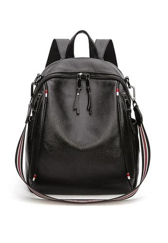 Twenty Eight Shoes black VANSA Pebbled Top Layer Cowhide Backpacks VBW-BpB001 31195ACC985681GS_1