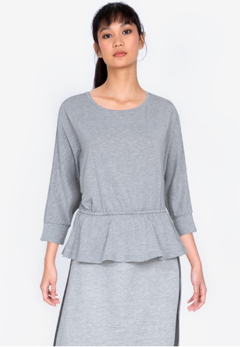 ZALORA BASICS grey Gathered Waist 3/4 Sleeve Top 35A1DAA1B72E6EGS_1