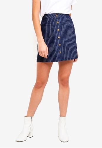 Brave Soul blue Stripe Button Through Mini Skirt E2478AA3A16653GS_1
