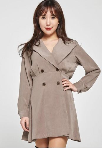 韓系時尚 雙排扣裹zalora 包包評價身迷你連衣裙 F4037, 服飾, 洋裝