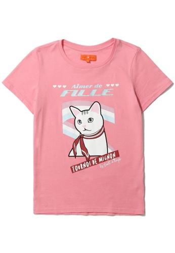 "tout à coup pink ""Aimer de Fille"" print tee 8ACE1AAC20ADDCGS_1"