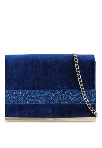 Dorothy Perkins blue Blue Velvet/Glitter Clutch Bag DO816AC0RA7AMY_1