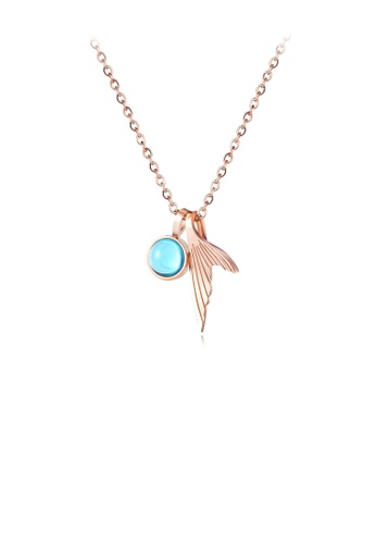Glamorousky silver Fashion and Elegant Plated Rose Gold Fishtail 316L Stainless Steel Pendant with Necklace 8AA35AC4CE7409GS_1