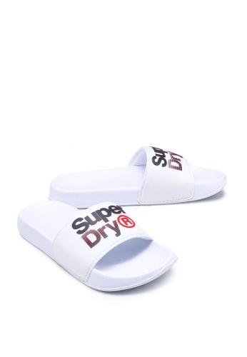 Superdry white Exclusive to Zalora - Lineman Pool Slides F5917SHD9523DCGS_1