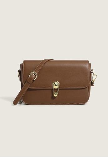 Lara brown Women's Plain Leather Flap Magnetic Closure Cross-body Bag - Brown 77530AC3269F6EGS_1