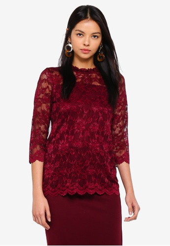 d5411cf4bfdcb2 Buy Dorothy Perkins Wine 3 4 Sleeve Lace Top Online on ZALORA Singapore