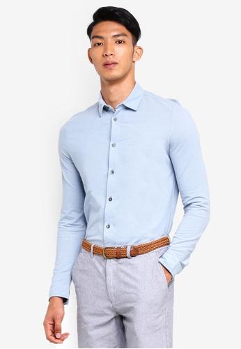 Burton Menswear London 藍色 Blue Fog Two Tone Long Sleeve Shirt B07C0AA644925AGS_1