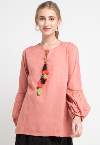 SIMPLICITY orange Colorful Tassel Blouse CF108AABE7A1C9GS_1