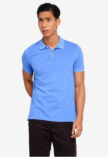 OVS 藍色 素色經典POLO衫 29D43AA9A37C98GS_1
