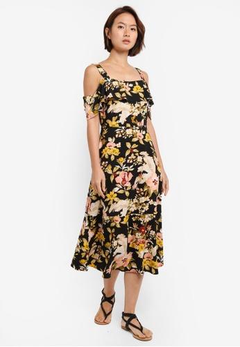 WAREHOUSE black Hibiscus Cold Shoulder Dress D13C4AAFC811B9GS_1