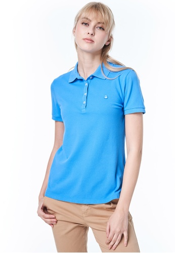 United Colors of Benetton blue Stretch Polo with Logo 76A15AA4970B44GS_1