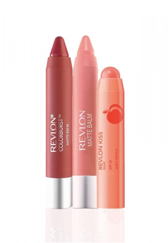 Revlon brown and red and pink and orange and beige Revlon Kiss™ Balm Juicy Peach 2.6g & Matte Balm Set 2.7 * 2 Ea RE737BE32YRNSG_1