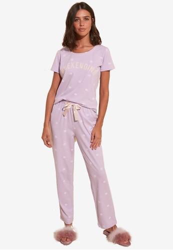 Trendyol purple Polka Dot Pattern Pyjama Set 3A7D4AA8049D9DGS_1