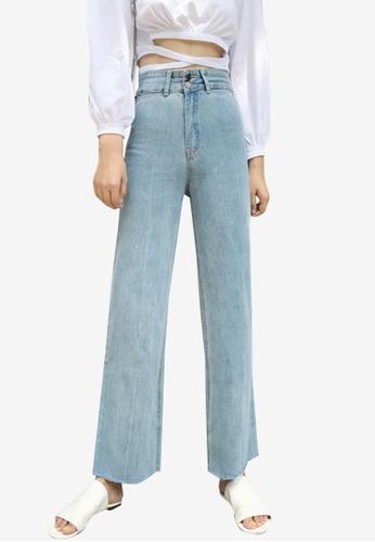 Lara blue Women's Distressed Hem Wide Leg Jeans C8192AA3186439GS_1