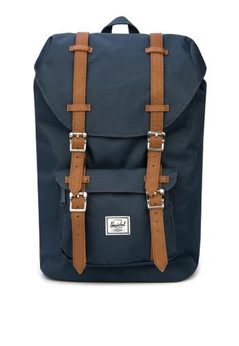 Herschel blue Little America Mid Backpack AB617AC4E6A674GS_1