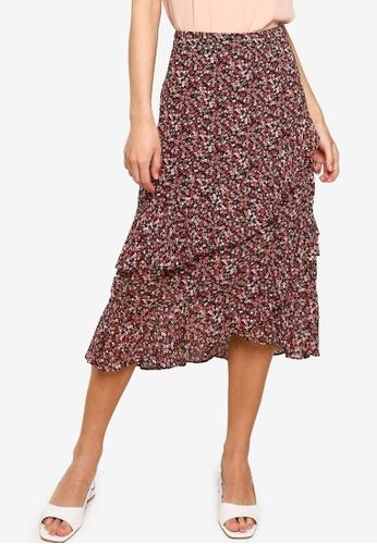 FORCAST multi Vayda Floral Midi Skirt EE45AAA268B0B7GS_1