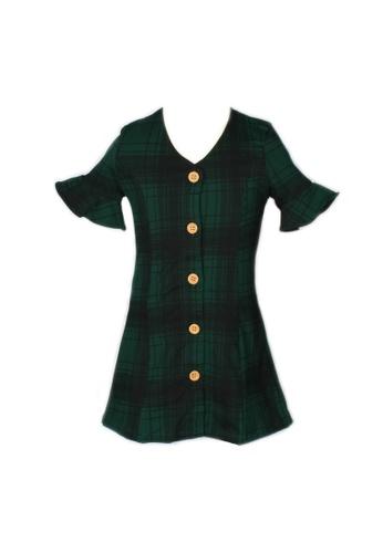Mini Moley green Checkered Button Down Girl's Dress 6CBB7KA2AE09C6GS_1