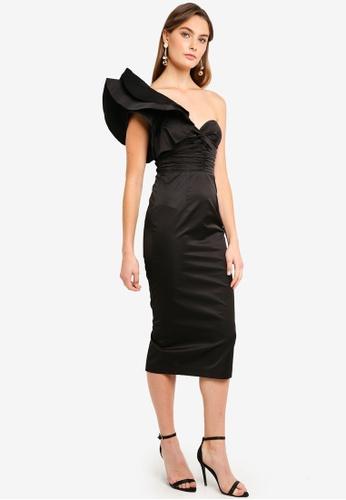 918cacac5a4 Elle Zeitoune black Voluminous One Shoulder Detail Dress 2CB95AA0534C32GS 1