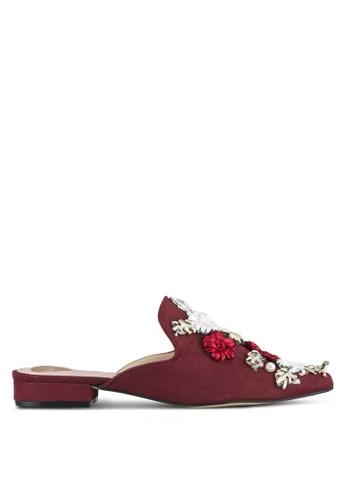 Velvet 紅色 立體花卉飾穆勒鞋 52CADZZ094F109GS_1