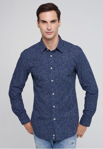 United Colors of Benetton blue Printed Slim Fit Shirt 908D1AA8510178GS_1