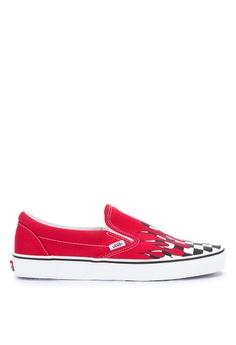 88c4760c1c95 VANS red Checker Flame Classic Slip-On Sneakers DE17ESHF9F617AGS 1
