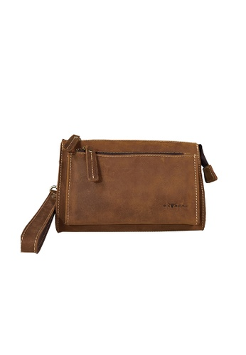 EXTREME brown Extreme Leather Clutch With Handle 61B59ACE29668BGS_1