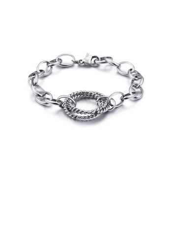 Glamorousky silver Fashion Simple Twist Geometric Circle 316L Stainless Steel Bracelet 04938AC09BE9FDGS_1