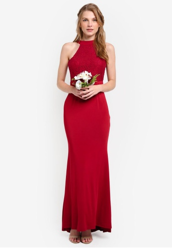 ZALORA red Bridesmaid Halter Mermaid Maxi Dress EA589AA63E3422GS_1