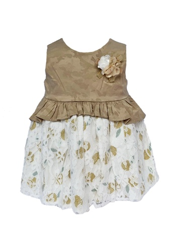 Era Maya white and gold Royal Gold Jacquard Baby Dress with Extra Volume Lace Skirt AF443KABB7B909GS_1