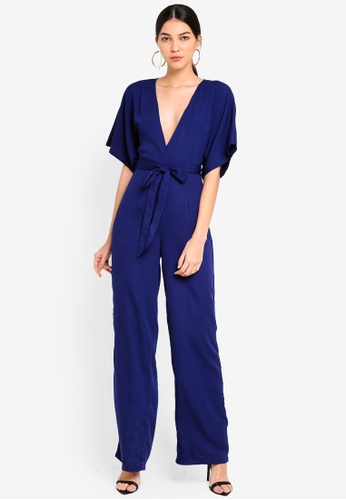 5d37036dac26 Buy MISSGUIDED Kimono Belted Plunge Jumpsuit Online on ZALORA Singapore