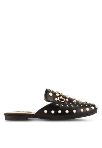 Nose black Pearl and Studded Mule Flats NO327SH0SAF9MY_1