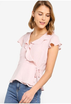 82c402eb61add Banana Republic pink Short Sleeve Ruffle Wrap Top 32E33AA2F8ED0AGS 1