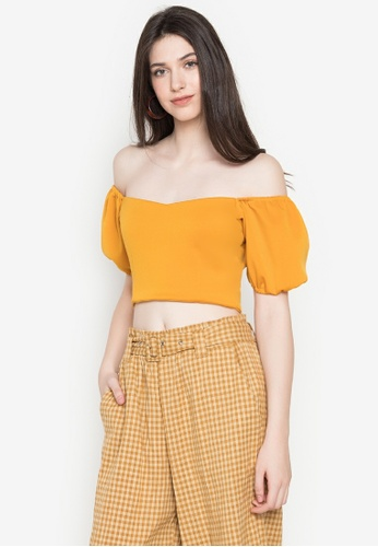 Heather Clothing yellow Buttercup Puff-Sleeved Croptop B14CDAAAE479DCGS_1
