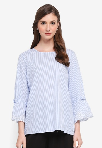 TOPGIRL blue Knot Stripe Embroidered Blouse 8906AAA3AC2390GS_1